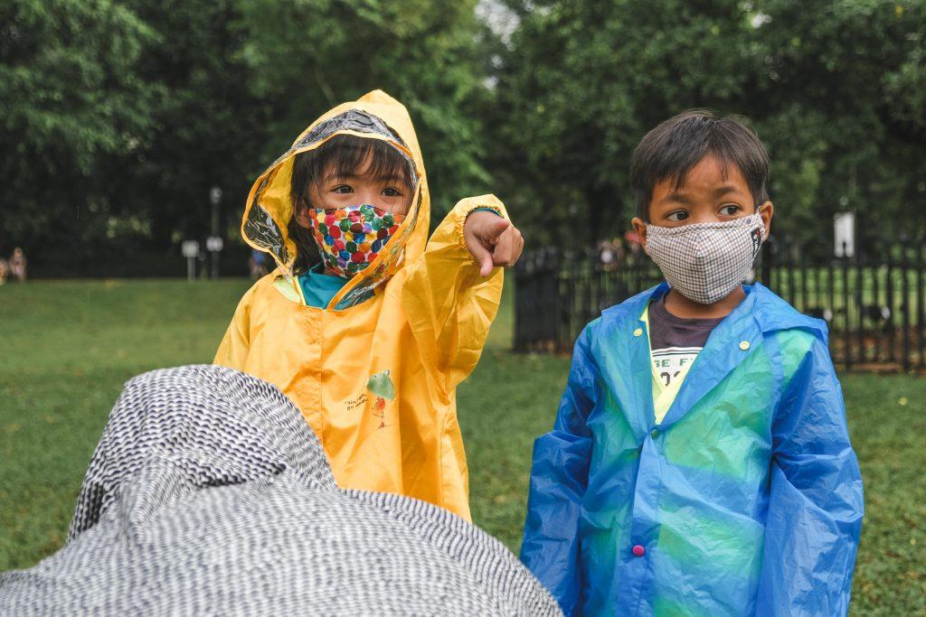 Children in raincoat